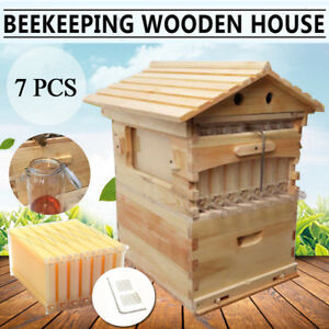 7pcs Auto Flow Honey Hive Beehive Frames 2 Box Bee Beekeeping Wooden House Us