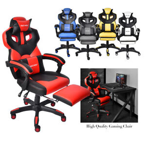 Executive Computer Office Chair Leather Adjustable Swivel Desk Task Seat Armrest