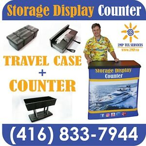 Trade Show Travel Wheeled Case Promo Counter Kiosk Full Printed Fabric Graphic