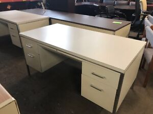 Metal Desk By Allsteel Office Furniture In Off white Color