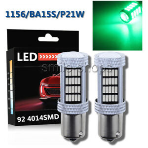 2pcs Green 1156 Ba15s P21w 92 4014 Smd Extremely Bright Led Bulbs Projector Lens
