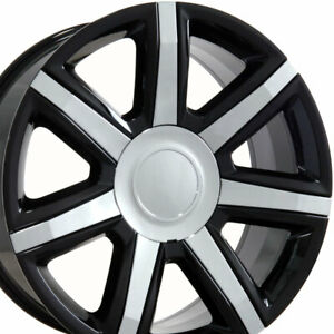 22 Rims Fit Cadillac Escalade Tahoe Yukon Wheels Black W Chrome Inserts