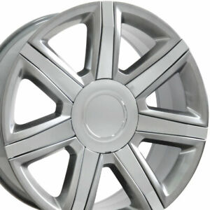 22 Rims Fit Cadillac Escalade Tahoe Yukon Hyper Silver W chrome Wheels