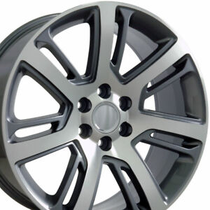 22 Rims Fit Cadillac Escalade Tahoe Yukon Gunmetal Mach D Wheels 4738