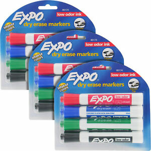 Expo Tank style Dry Erase Markers Low Odor Chisel Tip Assorted 3 Packs 80174