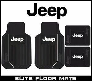 4 Pc Jeep Elite Mopar Front rear Rubber Floor Mats With Logo Fast Shipping