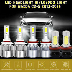 6x White 6000k Cob Led Headlight fog Light Bulbs Kit For Mazda Cx 5 2013 2016
