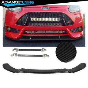 Fits 13 14 Ford Focus St Front Bumper Splitter With Hardware Carbon Fiber Print