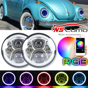 For Vw Beetle Classic Dot Rgb 7 Inch Led Headlights Upgrade Hi Low Beam Round
