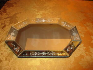 Vintage Original Large Art Deco Table Top Mirror Nouveau Decor 19x14 Inches