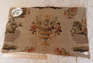Antique C1840 French Heavy Woven Wool Tapestry Fabric Textile L 15 X W 25