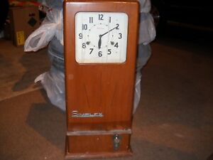 Vintage antique Simplex Model tc Wood Case Spring Driven Time Clock