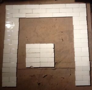 Complete Set Vintage Victorian Antique Fireplace Tile Tiles Mantle Hearth White