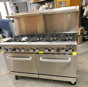 New 10 Burner Range Heavy Duty 60 Commercial Restaurant Stove Gas Double Oven