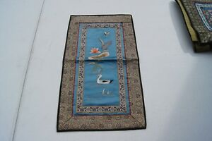 Vintage Silk Handmade Chinese Embroidery Panel Duck On Water 17 X 10