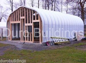 Durospan Steel 30x44x14 Metal Pitched Roof Building Kit Open Ends Factory Direct