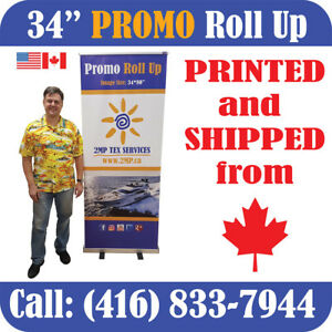 Promo 34 Trade Show Retractable Roll Up Banner Stand Pop Up Display Print