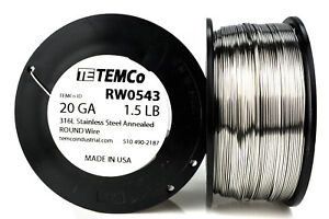 Temco Stainless Steel Wire Ss 316l 20 Gauge 1 5 Lb Non resistance Awg Ga