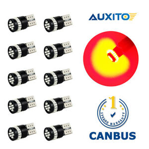Auxito 10x Super Red T10 W5w Canbus Led License Plate Light Bulbs 194 168 2825