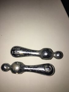 Vintage Chrome Hot Cold Faucet Tub Handles Side Mount