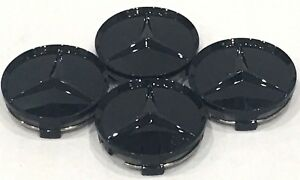 4x Mercedes Benz Center Caps Paint Gloss Black 3 Inch 75mm Fit C E S Gl Pgb75