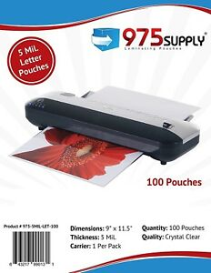 975 Supply 5 Mil Letter Thermal Laminating Pouches 9 X 11 5 100 Pouches
