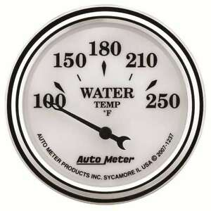 Autometer 1237 Old Tyme White Ii Analog Gauge Electric Water Temp 2 1 16in