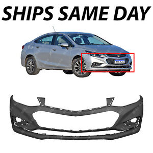 New Primered Front Bumper Cover For 2016 2018 Chevy Cruze W o Park Assist 16 18