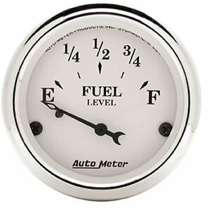 Autometer 1604 Old Tyme White Analog Gauge Electric Fuel Level 2 1 16in
