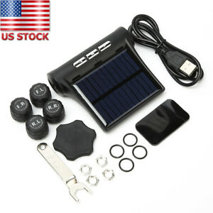 Solar Wireless Tpms Tyre Tire Pressure Lcd Monitor System W 4 External Sensors