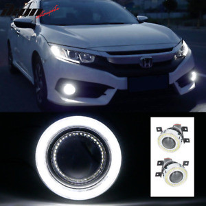 Fits 16 18 Honda Civic Led Halo Angel Eyes Projector Fog Lights Direct Fit 2pc