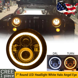 7inch Round Halo Amber Angel Eye Led Headlight For Jeep Wrangler Jk Jku Tj Cj Lj