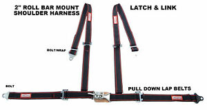 Four Point Street Car Seat Belt Latch Link Roll Bar Mount Black Red Bolt In