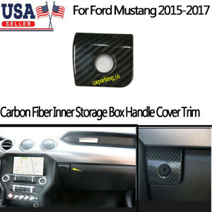 Carbon Fiber Front Glove Storage Box Handle Cover Trim For Ford Mustang 15 18
