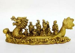 China Brass Auspicious Eight Immortals Across Sea By Dragon Boat Statue Y0164
