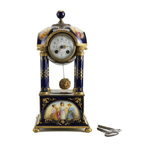 Antique Royal Vienna Hand Painted Porcelain Bronze Mantel Clock 19th Century