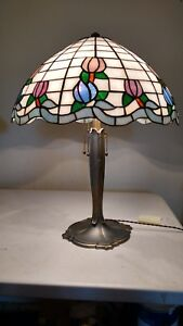 Bradley And Hubbard Large Sequoia Lamp W Stained Glass Shade Handel Era
