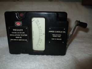 Biddle Instruments Megger Hand Crank Insulation Tester With Case Vtg