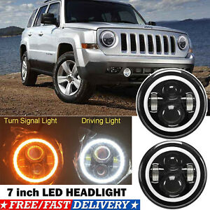 Led Projector Headlight 7 Inch 75w Halo Drl Angel Eyes For 2007 15 Jeep Patriot
