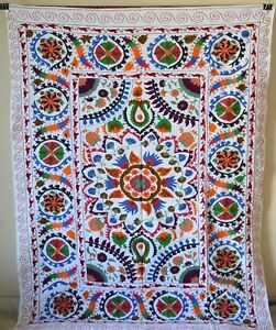 Embroidered Vintage Suzani Hand Blanket Bohemian Throw Quilt Twin Bedding