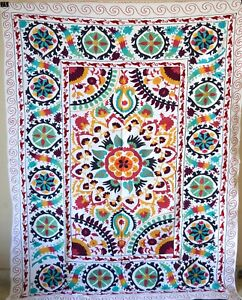 Suzani Vintage Hand Embroidered Quilt Twin Bedding Blanket Bohemian Throw Sz