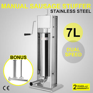 7l Sausage Filler Stuffer Dual Speed Meat Press Stainless Steel Superior Quality