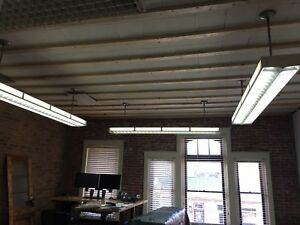 Vintage Old Fluorescent Ceiling Light Fixtures Louvered Historic Bardstown