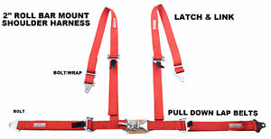 Four Point Street Car 2 Racing Seat Belt Latch Link Roll Bar Mount Red