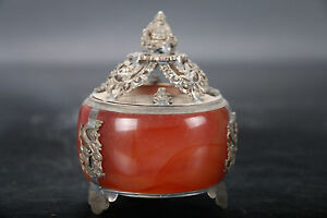 China Old Jade Hand Armored Copper Buddha Dragon Ornament Incense Burner Bh28