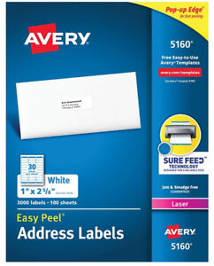 Avery 5160 5960 8160 Address Labels 30 Labels sheet 900 1500 Labels