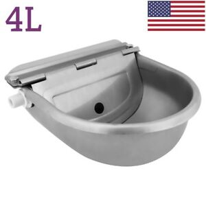 4l Automatic Stainless Steel Water Trough Bowl Dog Horse Chicken Drinking