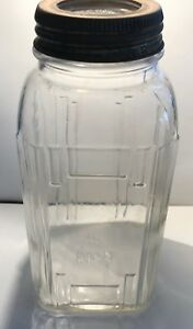 Vintage Clear Glass Jar Ribbed Coffee Jar Country Primitive Kitchen Art Deco