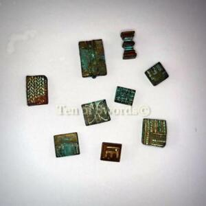 Antique African Ashanti Gold Weights Small Abstract Square Nine Miniatures