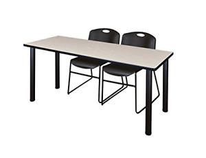Regency 60 X 24 Kee Training Table Maple black 2 Zeng Stack Chairs Black